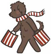shopping logo of australian labradoodle holding two shopping bags